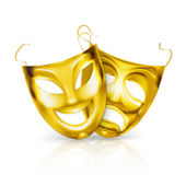 Gold theater masks, vector — Vector de stock