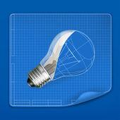 Lampe zeichnung blueprint, vektor — Stockvektor