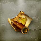 Eski harita ve spyglass, eski stil — Stok Vektör