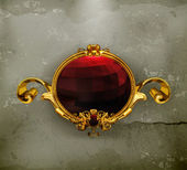 Vintage kare kırmızı, eski stil — Stok Vektör