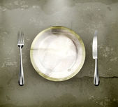 Dinner place setting, old-style — Stock Vector