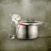 горячий суп, старый стиль — Cтоковый вектор