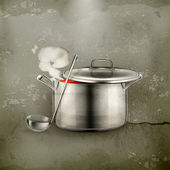 Hot soup, old-style — Vector de stock