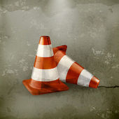 Traffic cone, icon old-style — Stock Vector