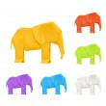 Origami elephants, vector set — Stock Vector