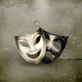 Theater masks, old-style vector — Stock Vector