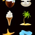 letní ikony, na černé — Stock vektor
