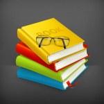 böcker och glasögon, vektor — Stockvektor