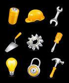 Repair, icon set on black — Stock Vector