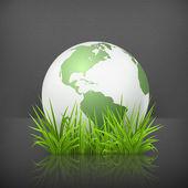 Globe sur herbe, 10eps — Vecteur