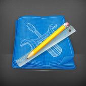 Technische zeichnung icon, vektor — Stockvektor