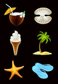 Iconos de verano, en negro — Vector de stock