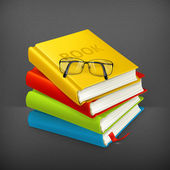 Books and glasses, vector — Stock Vector
