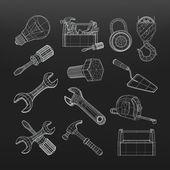 Sistema de herramientas de dibujo, vector — Vector de stock