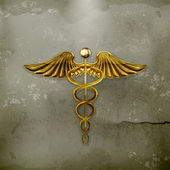 Golden Caduceus, old-style vector — Stock Vector