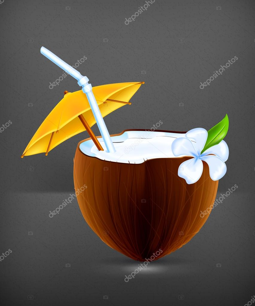 Coconut Cocktail, vector — Stock Vector #19321421