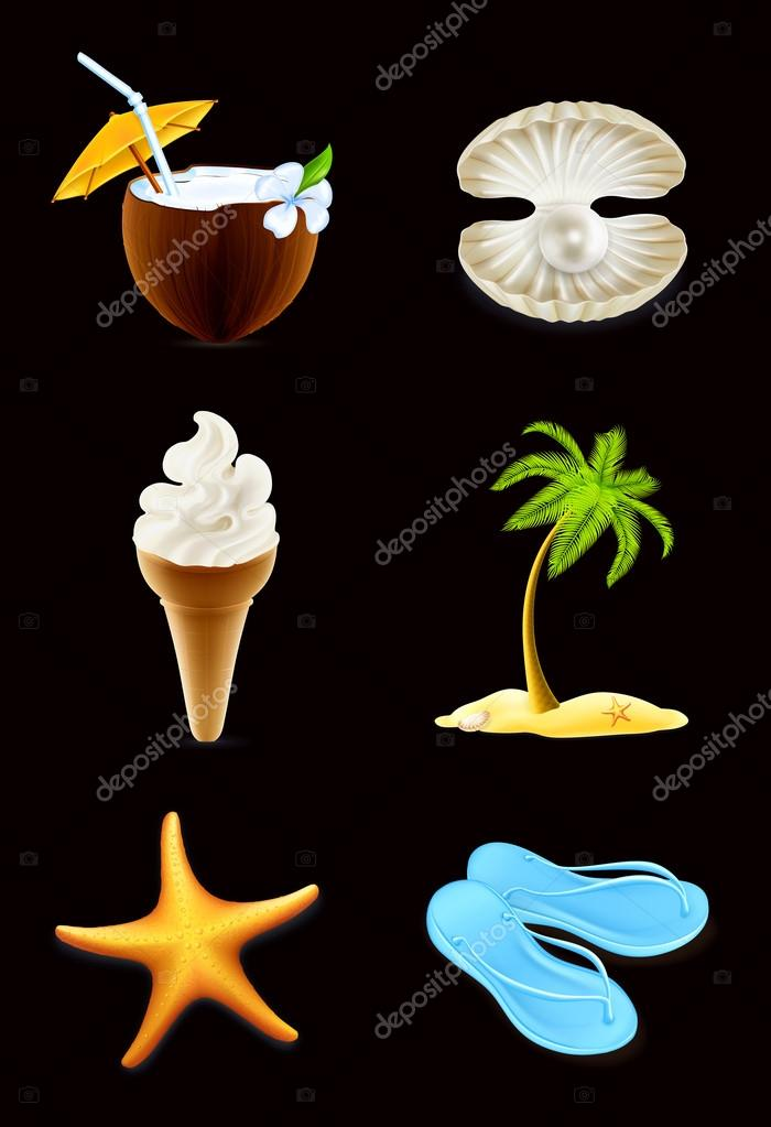 Summer icons, set on black — Stock Vector #19322071