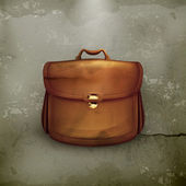 Vector brown briefcase, old-style vector — ストックベクタ