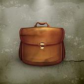 Vector brown briefcase, old-style vector — Stock Vector