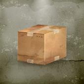 Caja de cartón, al viejo estilo vector — Vector de stock