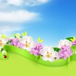 Spring flowers and clouds, vector background — Stock Vector