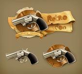 Gun, retro icon — Stock Vector