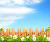 Spring background, grass and wooden fence vector — Stock Vector