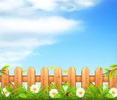 春背景、草および木の塀のベクトル — ストックベクタ
