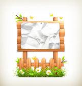 Wooden sign in grass, vector — Stock Vector