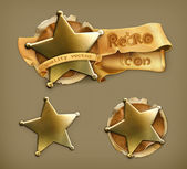 Sheriff, retro icon — Stock Vector