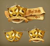 Złota teatru maski, ikona wektor — Wektor stockowy