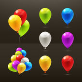 Toy balloons, set of vector icons on black — Stock Vector