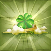 Lucky Clover, old style vector background — Stock Vector