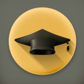 Graduation cap, long shadow vector icon — Stock Vector