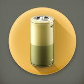 Battery, long shadow vector icon — Stock Vector