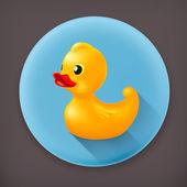 Rubber duck, long shadow vector icon — Stock Vector