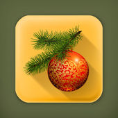 Christmas ball, long shadow icon — Stock Vector
