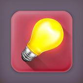 Light bulb, long shadow vector icon — Stock Vector