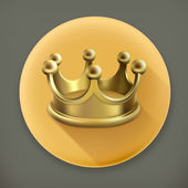 Gold crown, long shadow icon — Stock Vector