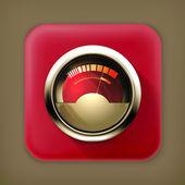 Audio Gauge, long shadow vector icon — Stock Vector