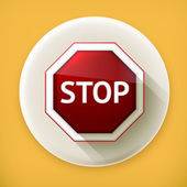 Stop sign long shadow vector icon — Stock Vector