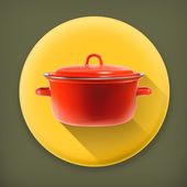 Red saucepan, long shadow vector icon — Stock Vector