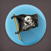 Jolly Roger long shadow vector icon — Stock Vector