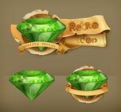 Emerald green, retro vector icon — Stock Vector