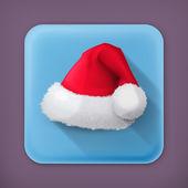 Santa Claus hat, vector flat icon — Stock Vector