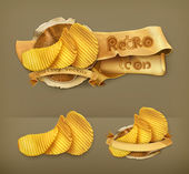 Potato chips, retro vector icon — Stock vektor