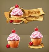 Cherry cupcake, retro vector icon — Stock Vector