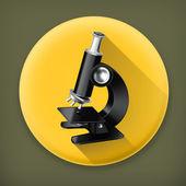 Microscope long shadow vector icon — Stock Vector