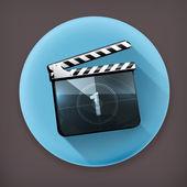 Film tleskat, dlouhý stín vektorové ikony — Stock vektor