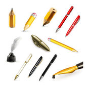 Pens and pencils, set vector icons — Stock Vector